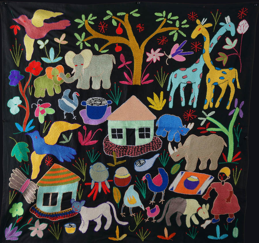 A Day in a Village: Mapula Embroidered Wall Hanging by Martha Phalatsi