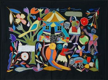 Family Fun with Mother and Children: Mapula Embroidered Wall Hanging by Sophy Mahlanga